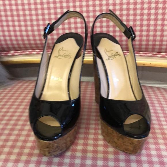 ad3c7be8c354 Christian Louboutin Shoes - Christian Louboutin black wedge heel sz 39